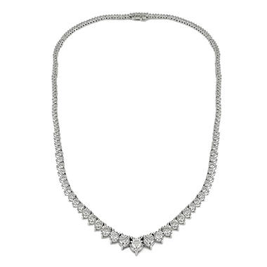 2.95 CT. T.W. Diamond Miracle Plate Necklace in 14K White Gold