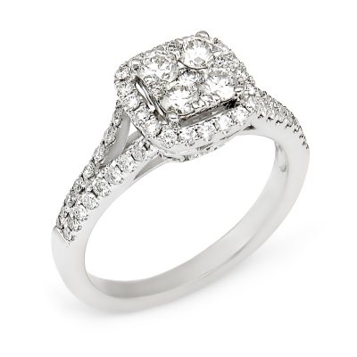 95 CT TW Diamond Composite Engagement Ring in 14K White Gold