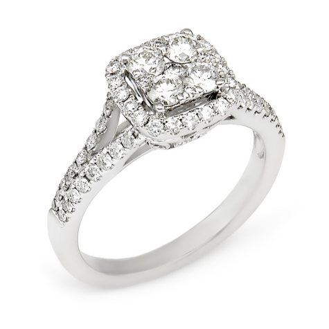 0.95 CT. T.W. Diamond Composite Engagement Ring in 14K White Gold