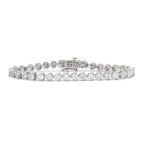 2.96 CT. T.W. Diamond Miracle Plate Bracelet in 14K White Gold