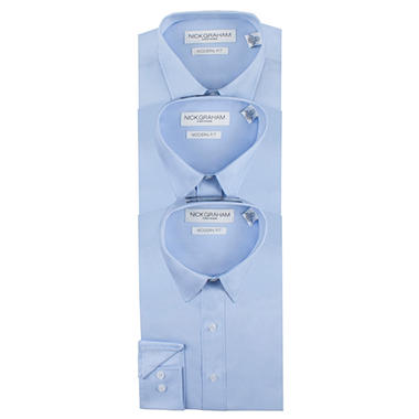 Nick Graham Men's 3-Pack Fitted Dress Shirt