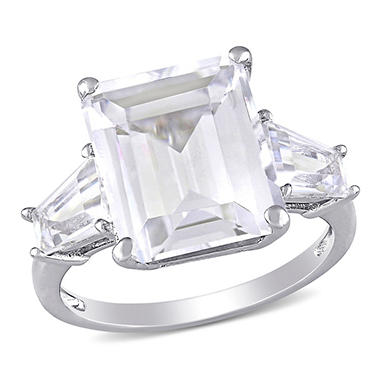 8.9 CT. T.W. Emerald Cut and Taper Baguettes White Topaz Three Stone Ring in Sterling Silver