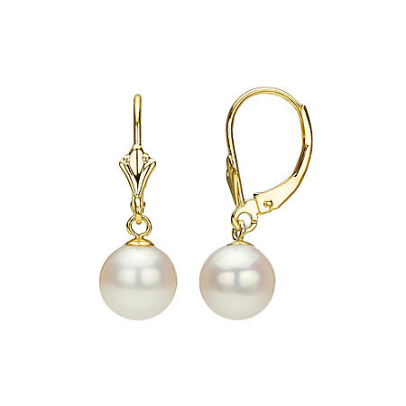 White Round Freshwater Pearl Lever-Back Earring (Assorted Pearl Sizes)