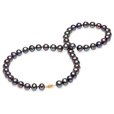 9-10 mm Black Freshwater Pearl Strand Necklace (Assorted Lengths)