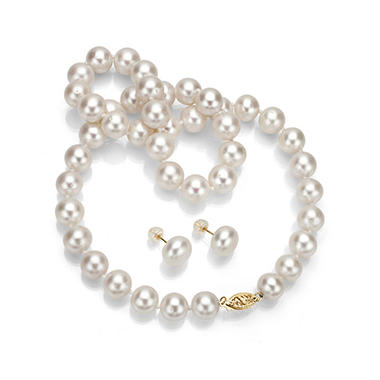 10 11 Mm White Freshwater Pearl Necklace And Earring Set