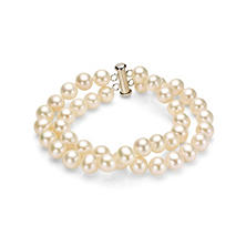 "7-8 mm Freshwater Pearl 2-Row Bracelet with Sterling Silver Clasp, 7.25"" (Assorted Colors)"