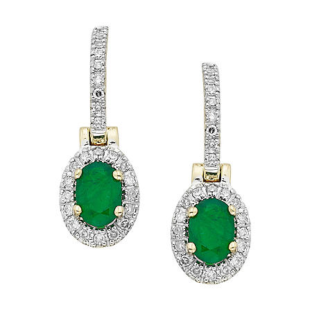 Emerald and Diamond Earrings in 14K Yellow Gold