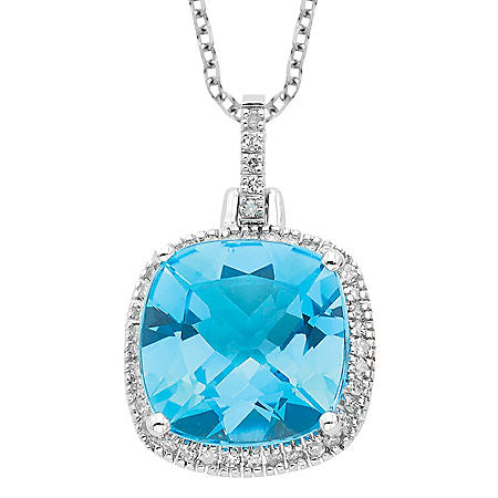 Blue Topaz with Diamond Pendant in 14K White Gold