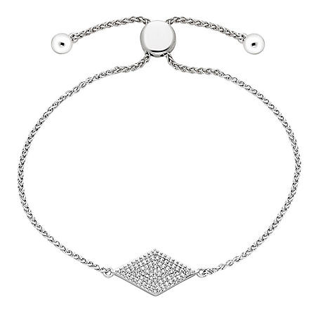 Sterling Silver and 0.26 CT. T.W. Diamond Bolo Kite Bracelet