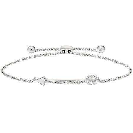 Sterling Silver and 0.20 CT. T.W. Diamond Bolo Arrow Bracelet