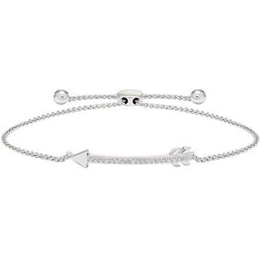corded silver bracelet arrow