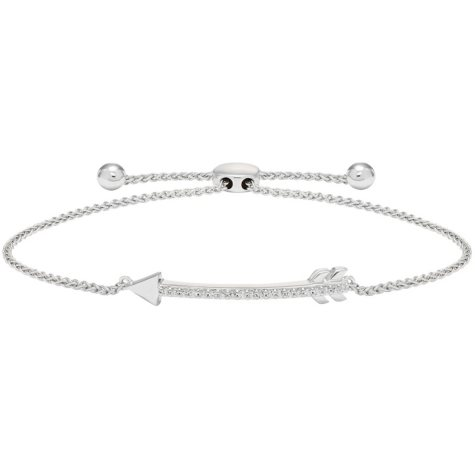Sterling Silver Diamond Bolo Arrow Bracelet