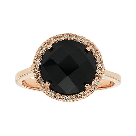 Black Onyx Diamond Ring
