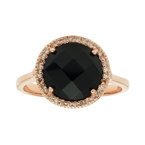 Black Onyx Diamond Ring