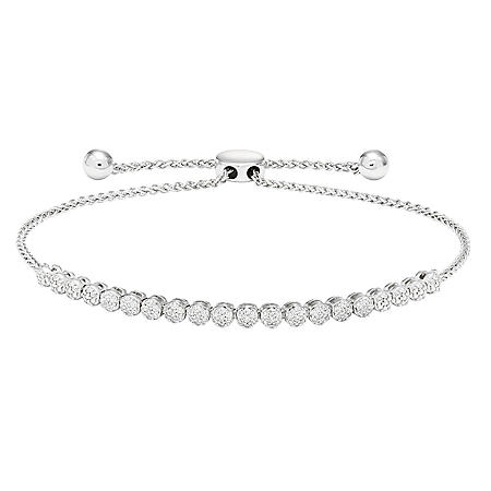 Sterling Silver and 0.25 CT. T.W. Diamond Tennis Style Bolo Bracelet