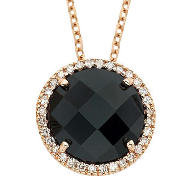 Black Onyx Diamond Pendant