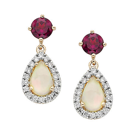 Ethiopian Opal and Garnet Earrings in 14K Rose Gold