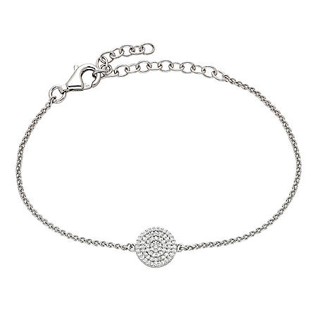 Sterling Silver and 0.20 CT. T.W. Diamond Round Adjustable Bracelet