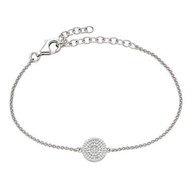 Sterling Silver And 0 20 Ct T W Diamond Round Adjustable Bracelet
