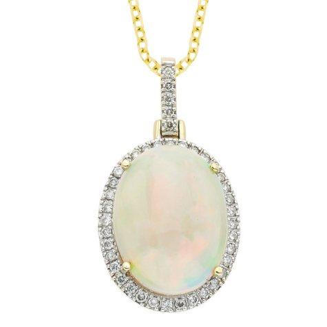 6 Carat Ethiopian Opal Diamond Pendant