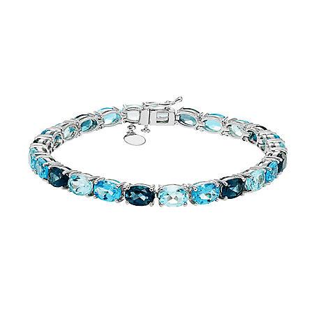 Stelring Silver Multi-Blue Topaz Bracelet