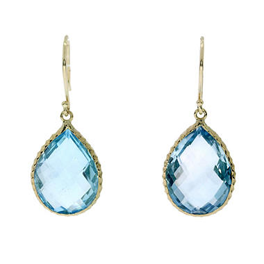 T W Blue Topaz Earrings In 14k Yellow Gold