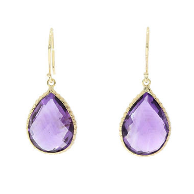 Pear Shaped Amethyst Earrings In 14k Yellow Gold
