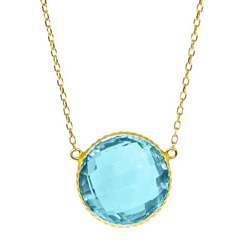 15 CT. T.W. Blue Topaz Pendant in 14K Yellow Gold