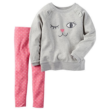 Carters Girl's 2 Piece Playwear Set - Grey/Pink