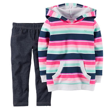 Carters Girl's 2 Piece Playwear Set - Hoodie/Denim