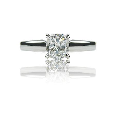 1.01 ct. Cushion-Cut Diamond White Gold Solitaire Ring (G, VS1)