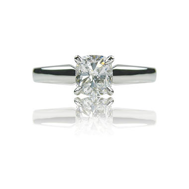 1.01 ct. Cushion-Cut Diamond White Gold Solitaire Ring (I, VS2)