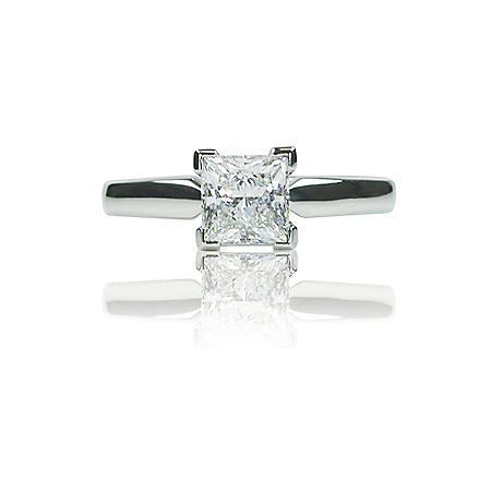 1.00 ct. Princess-Cut Diamond White Gold Solitaire Ring (I, VS1)
