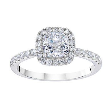 1.33 ct. t.w. Cushion Diamond Halo Mellee 14K White Gold Ring (GIA)