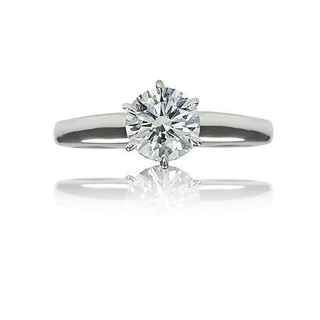 1.01 ct. Round Brilliant-Cut Diamond White Gold Solitaire Ring (I, SI1)