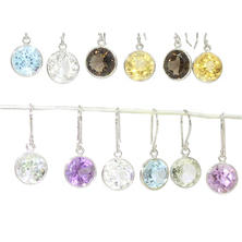 Six-Pair Set of Genuine Gemstone Earrings in Sterling Silver