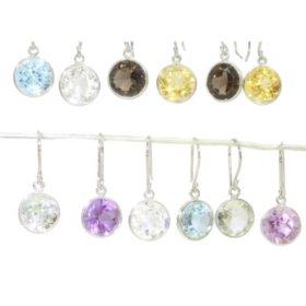 Six-Pair Set of Genuine Gemstone Earrings in Sterling Silver