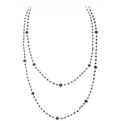 20 ct. t.w. Black Diamond Necklace in 14K White Gold