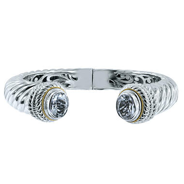 Gem RoManse White Topaz Cuff in Sterling Silver and 18K Gold