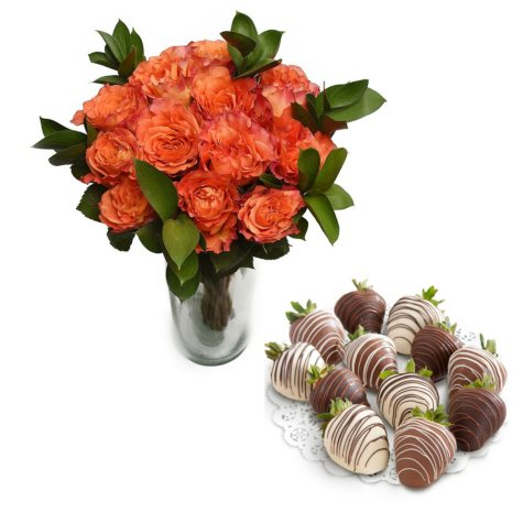 Berries & Blooms Valentine's Day Bouquets, PREORDER (12 roses & 12 berries)