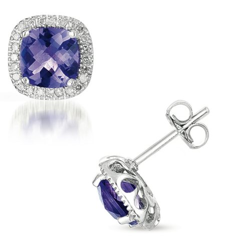 Amethyst and Diamond 14K White Gold Earrings