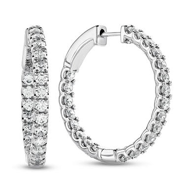 1.95 CT. T.W. Diamond Hoop Earrings in 14K White Gold