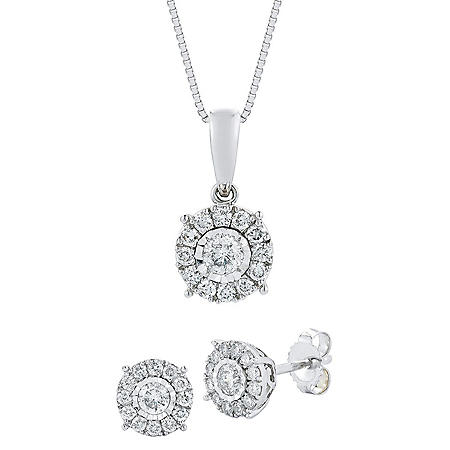 .60 CT. T.W. Diamond Earring & Pendant Set in 14K White Gold