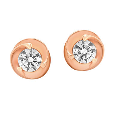 14K Two-Tone Gold and Diamond Accent Earrings