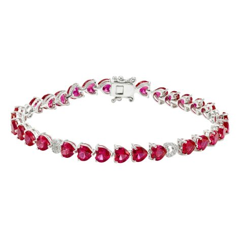 Ruby and White Sapphire Heart Bracelet in Sterling Silver