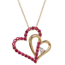 Lab Ruby and Diamond Accent Double Heart Pendant in 14K Yellow Gold