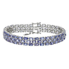 Three Row Tanzanite Bracelet in Sterling Silver