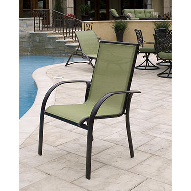 Aluminum Sling Stack Chair Green
