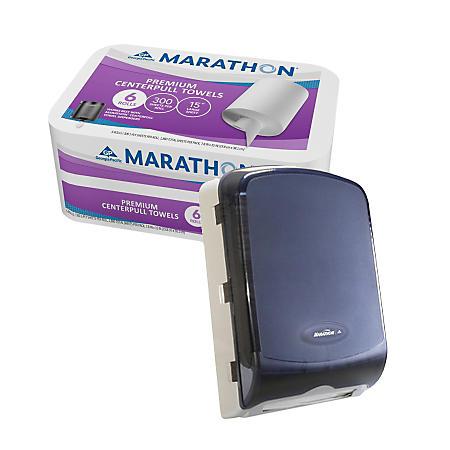Get Marathon® Combo Folded Towel Dispenser for $1 when you purchase Marathon® Centerfold, Singlefold, or Multifold Towels