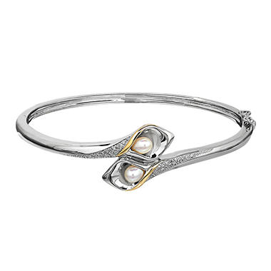 Cultured Freshwater Pearl Calla Lily Bangle In Sterling Silver And 14k Gold